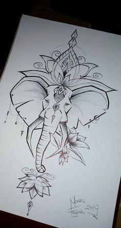 You can find Elephant art and more on our website. Mandala Elefant Tattoo, Dotwork Tattoo Mandala, Mandala Tattoo Design, Mandala Drawing, Tattoo Designs, Lotus Drawing, Lotus Art, Tattoo Ideas, Tatoo Elephant
