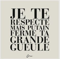 i respect you but fucking shut your big mouth. eloquent because its en francais Words Quotes, Me Quotes, Funny Quotes, Sayings, French Words, French Quotes, The Words, Cool Words, I Respect You