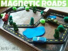 Neat idea for 'roadschool' and for contained play at home. Though I imagine in the car I'd be picking up all the small pieces from the floorboard... // And Next Comes L: Magnetic Roads