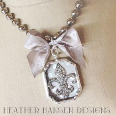 Large  Rhinestone fleur de lis soldered pendant by thehansenfamily, $38.00