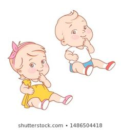 Stock Photo and Image Portfolio by Natalia Zelenina Cute Little Baby Girl, Twin Baby Girls, Logo Infantil, Baby Girl Drawing, Baby Shower Deco, Baby Icon, Looney Tunes Characters, Old School Cartoons, Baby Posters