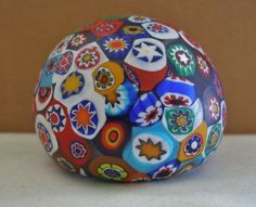 Magnificent MURANO Millefiori Art Glass PAPERWEIGHT Stunning COLORS has 2 LABELS #Murano