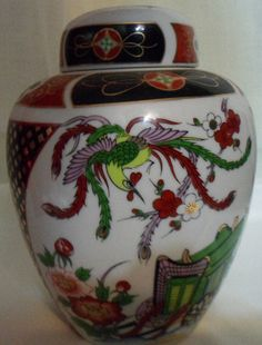 Asian Hand Painted Decorative Ceramic Ginger Oriental Bird Scene Dome Lid Japan