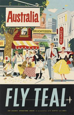 Australia - FLY TEAL (circa 1950) vintage travel poster
