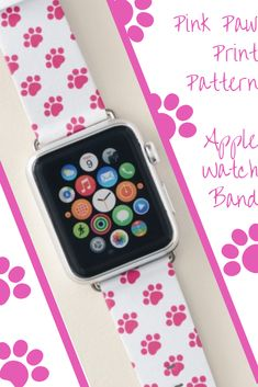 Shop Pink Paw Print Pattern Apple Watch Band created by Paw_Print_Gifts. Cute Apple Watch Bands, Apple Watch Bands Fashion, Best Apple Watch, Apple Watch Series 1, Apple Fitness, Best Mothers Day Gifts, Apple Watch Accessories, Paw Prints, Series 4