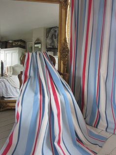 *SALE* Lewis FINLAY RED / BLUE STRIPE NAUTICAL CURTAINS. Wide & Long *Sale*