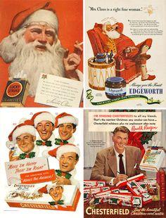 O Pai Natal a fumar. Cigarros como prenda de Natal. Os tempos mudaram... Antigas campanhas publicitárias da Lucky Strike.