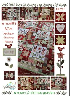 Heb het patroon..... en al een stukje begonnen. A Merry Christmas Garden BOM sets from the very talented Gail Pan Designs will be available early next year at www.fabricpatch.com.au Please let me know if you would like a set or as BOM? They will be around $100 for the set.... Laybys welcome