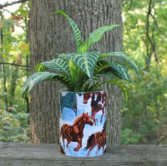 Horses Wrapped Planter or Centerpiece by BFG.