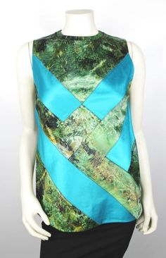 Proenza Schouler Blue Green Patchwork Tree Scene Printed Top Size 6 $1695 #ProenzaSchouler #TankCami #EveningOccasion
