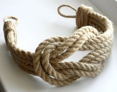 Curtain Tie back.Curtain Tie-backs Jute Rope Double Square Knot. Rope Crafts, Diy And Crafts, Nautical Curtains, Nautical Knots, Nautical Theme, Vintage Nautical, Nautical Nursery, Rope Decor, Rope Knots