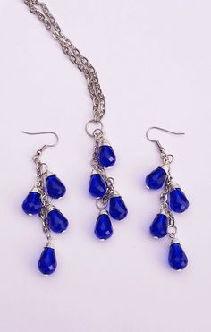 Cobalt Blue Teardrop Vine Necklace and Earring by BroadwayDesignz The dangle and sway of the beads will catch the lights with a shimmer of elegance.