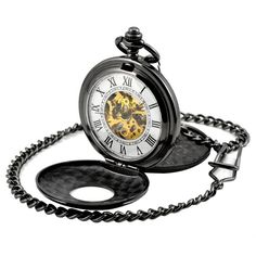 db7379365853 FUNIQUE Mechanical Hand Wind Pocket Watch Skeleton Fullmetal Men s Watch  Analog Pendant Necklace For Women Men Xmas Gifts-in Mechanical Watches from  Watches ...
