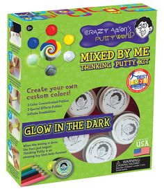 Create your own custom-colored Thinking Putty with the Crazy Aaron's Mixed by Me Kit. Each kit includes five tins of clear putty, three concentrated color putties, three special effect putties, and an Aaron's Putty, Putty And Slime, Putty Toy, Clear Putty, Aaron's Thinking Putty, Slime And Squishy, Silly Putty, Homemade Art, Glow Effect