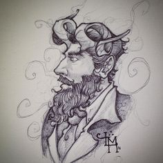 #folklore #sketchbook #fawn #fantasy #fantasyart #portrait #profile #doodle #artist #illustration #strathmore #ink #blackandwhite #bearded