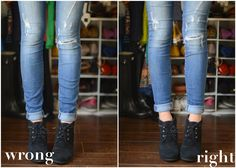 The Dos and Don'ts of Cuffing Your Jeans with Ankle Boots (Part 2) -- for low cut, lace-up ankle booties!