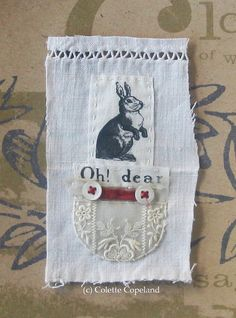 Stitched bit mini textile art Rabbit by ColetteCopeland on Etsy