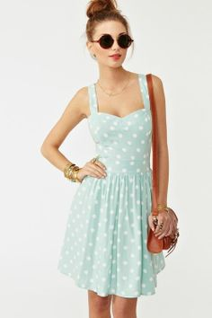 Baby blue and white polka dot dress