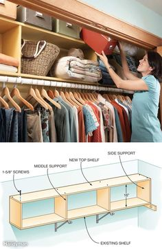 There's a lot of space above the shelf in most closets. Even though it's a little hard to reach, it's a great place to store seldom-used items. Make use of this wasted space by adding a second shelf above the existing one. Buy enough closet shelving material to match the length of the existing shelf plus enough for two end supports and middle supports over each bracket. Twelve-inch-wide shelving is available in various lengths and finishes at home centers and lumberyards. We cut the…