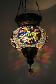 Turkish Ottoman Style Hanging Mosaic Lantern