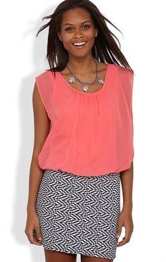 Deb Shops Sleeveless Chiffon Blouson Dress with Chevron Print Bodycon Skirt $30.00