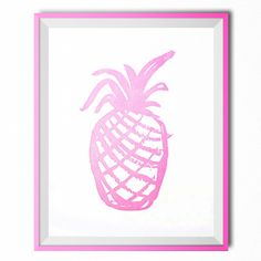 Pink Pineapple Letterpress Art Print (€22) ❤ liked on Polyvore featuring home, home decor, wall art, fillers, art, pink home decor, pineapple home decor and pink wall art