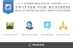 [WORKSHOP ALERT] Join us October 15th from 8-10am for our Twitter for Business Workshop! Learn the basics of ‪#‎Twitter‬ and how it can benefit your brand. We will walk you through how to set up an account, how to optimize your profile to best represent your brand, how to properly use hashtags, and finally learn some best practices to build a quality following. Register here>http://stellarbluetechnologies.com/event/twitter-for-business-2/?pk_campaign=1014TW30PI&pk_kwd= ‪#‎stellarworkshops‬