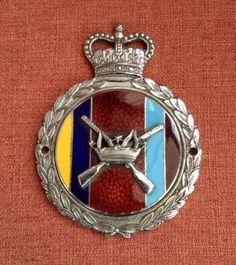 VINTAGE UNUSED CHROME & ENAMEL RAF REGIMENT CAR GRILL BADGE (06/04/2014)