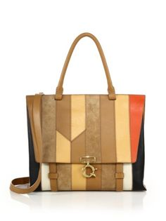 Derek Lam 10 Crosby - Ave A Multicolor Patchwork Leather & Suede Satchel