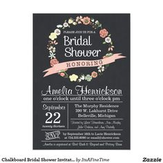 Chalkboard Bridal Shower Invitation with wreath