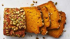 Pumpkin orange bread - Martha Stewart - Pepitas give this spiced quickbread a pleasant crunch. Using canned pumpkin puree keeps the prep time to a minimum. Canned Pumpkin, Pumpkin Puree, Pumpkin Spice, Spiced Pumpkin, Pumpkin Bread Recipe Martha Stewart, Bread Recipes, Cooking Recipes, Healthy Recipes, Cheese Stuffed Shells