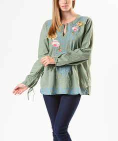 Como No? by Biz Pistachio Floral Embroidered Pleated Top by Como No? by Biz #zulily #zulilyfinds