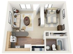 "studio-floor-plan, have living and kitchen facing ""wall"" but the wall will be sliding glass door onto deck."