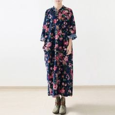 2017 spring indigo blue blossom garden inspired plus size linen dresses cotton causal dress