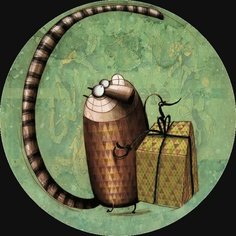 """Le Cadeau du Chat"" - by Anna Laura Cantone Anna, Sculpture Painting, Children's Book Illustration, Illustration Children, Stationery Design, Whimsical Art, Crazy Cats, Cat Art, Illustrations Posters"