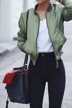 Rae -- bomber jacket (for present scenes). I'd prefer an army green/olive color