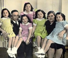 Dionne Quintuplets and their parents  The sisters were born in May 1934.