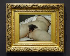 L'Origine du monde (The Origin of the World) is an oil-on-canvas painted by French artist Gustave Courbet in 1866.  Oil on canvas   Dimensions 46 cm × 55 cm (18 in × 22 in)   Location Musée d'Orsay, Paris