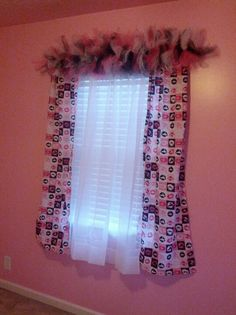 DIY Curtain Panels and  Tulle Valance.  Pink Black and White Girls Room.  Made with Valentine Fabric and tulle.