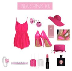 """i wear pink for confidence"" by saabrinaaxx-1 ❤ liked on Polyvore featuring Boohoo, Coach, Yves Saint Laurent, Smashbox, Essie, Jimmy Choo, Kate Bissett, Allurez, Pink and IWearPinkFor"
