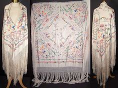 Antique Chinese Figural White Silk Embroidered Canton Piano Shawl