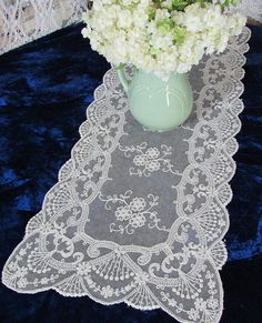 Gorgeous Antique French Net Embroidered Lace Table Runner   Vintageblessings