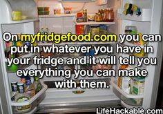 YES, I needed this!! Put in whatever you have in your fridge and it tells you what you can make with it!