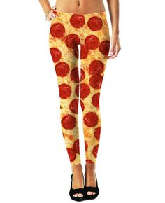 Pizza Leggings and You: Check out these All-Over Print Pepperoni Pizza Leggings! These cheesy fully sublimated pizza pants will bring vibrant high-quality Pepperoni covered goodness to your closet! Get this food fashion design now.  Pizza Leggings Features:  -Hand Cut & Sewn in USA -100% Specially Spun Polyester -HD All-Over Graphic Print -Pre-Shrunk 2 Way Stretch Fabric  Incredibly Soft & Amazingly Chic: Each set of leggings is a unique, 1 of-a-kind garment, printed, hand cut and han...