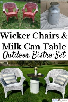 Outdoor living DIY, farmhouse bistro set on a budget! Making a milk can table and spray painting old wicker chairs before and after furniture makeover. Old Wicker Chairs, Wicker Furniture, Outdoor Furniture Sets, Outdoor Decor, White Furniture, Outdoor Ideas, Painted Furniture, Milk Can Table, Painted Wicker