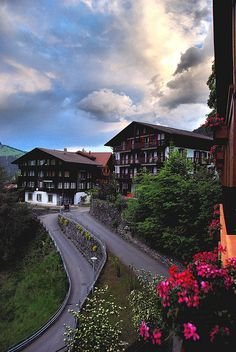 wengen sunrise, switzerland. are those big buildings apartment houses?...how lovely!