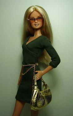 Nenca - zberateľské barbie a tvorba: BB 002 - 11 olivové šaty