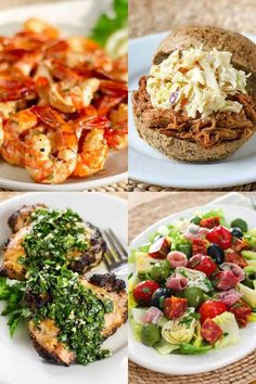 When it comes to steamy summer weather, the last thing you want to do is turn on the stove. Here are 7 easy dinner recipes you can make without heating up the kitchen. You'll find recipes for salad, pulled pork, smoked shrimp and more! Healthy Summer Recipes, Spring Recipes, Paleo Recipes, Real Food Recipes, Free Recipes, Easy Recipes, Paleo Dinner, Healthy Dinner Recipes, Healthy Meals