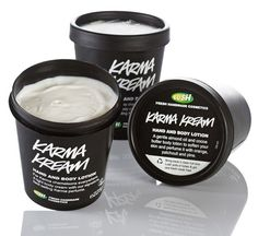 Karma Kream Body Lotion | Lush Cosmetics' best-selling flavor. The scent is addictive and I can smell it all day! orange flower, patchouli, pine, lemongrass & lavendin. Not flowery, but clean. Not hippie, but still woodsy. Not what you expect.