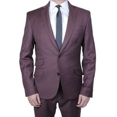 """NEWMAN SUIT - MAROON:  Our Newman Suit comes made with two buttons, a high notch 2 1/4"""" collar, functional button holes and a shorter cut. However, you can customize it to fit and look like your perfect suit - whatever that may be. Add this to your cart and schedule an appointment at one of our two NYC stores for your custom fitting and we will walk you through various fabric options and make sure that this suit is tailored perfectly for your body and lifestyle! #menswear #fashion…"""
